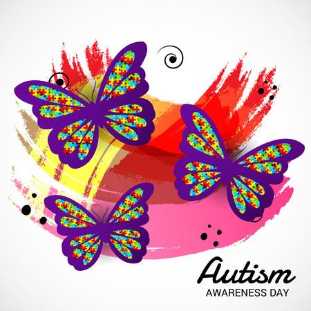 Bandera del día mundial de concienciación sobre el autismo con mariposas sobre fondo blanco. Ilustración vectorial