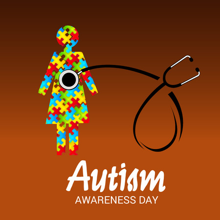 World autism awareness day banner with stethoscope and a child.