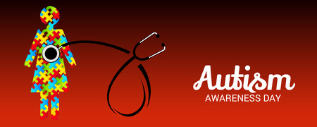 World autism awareness day with stethoscope and a child banner.