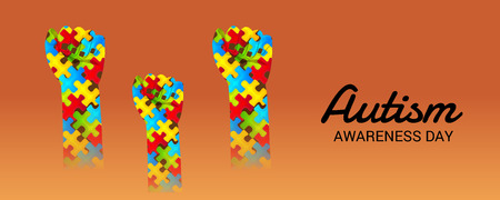 World autism awareness day with colorful designs banner.