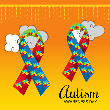 World autism awareness day with colorful ribbons banner.
