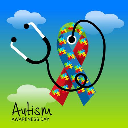 Día Mundial de la conciencia del autismo colorido banner.