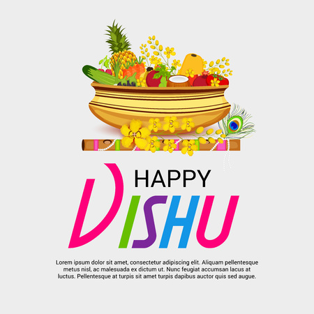 Happy Vishu vector illustration.