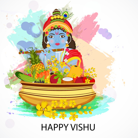 Happy Vishu isolated on colorful presentation Illustration
