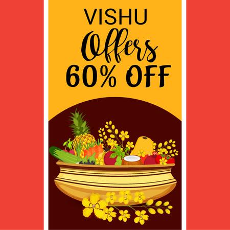 Happy Vishu sale poster template vector illustration..