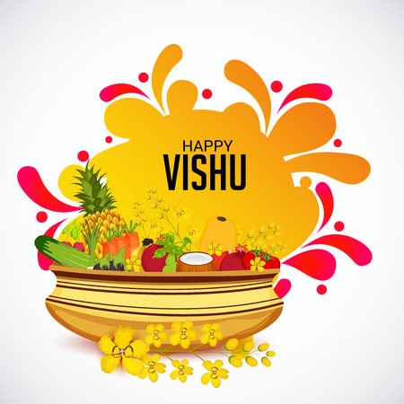Happy Vishu banner template with festival icons Vector illustration.