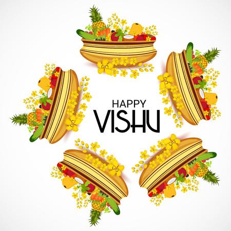 Happy Vishu poster template vector illustration. Illustration