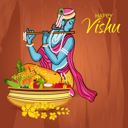 Happy Vishu with woman sitting on ornaments.