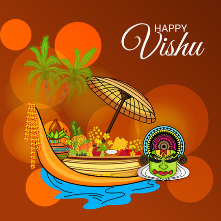 Happy Vishu flyer template with festival icons Vector illustration. Illustration