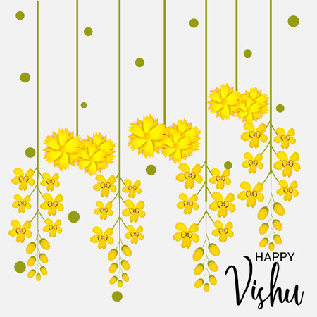 Happy Vishu with floral ornaments.