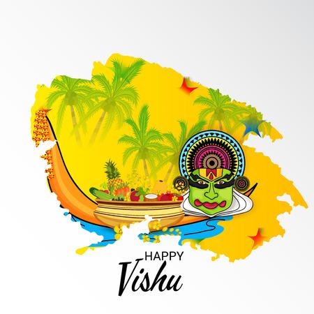 Happy Vishu poster template vector illustration..
