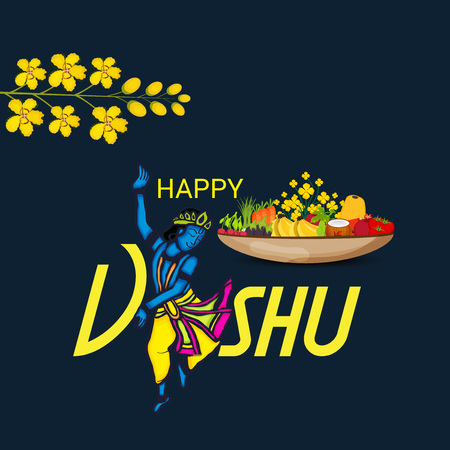 Happy Vishu with lady dancing and pots of fruits and flowers. Illustration