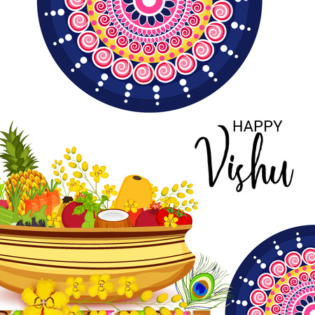 Happy Vishu with fruits and flowers on pot.