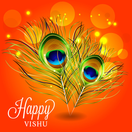 Happy Vishu with feather ornament in red background. Illustration