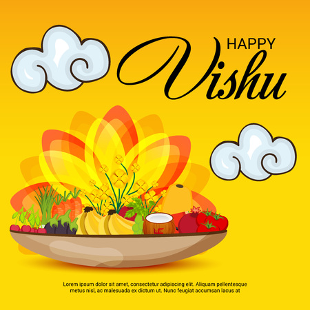 Happy Vishu with fruits and event ornaments.