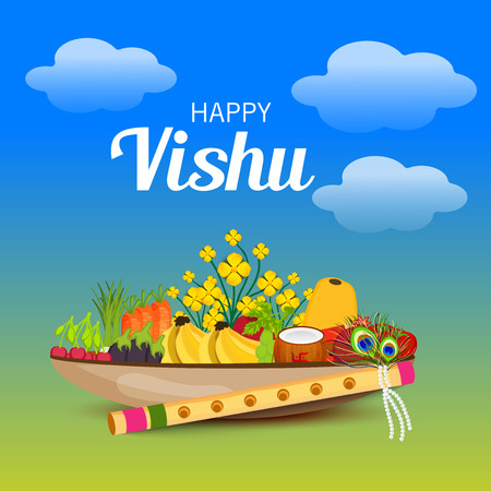 Happy Vishu with fruits, vegetables and flowers.