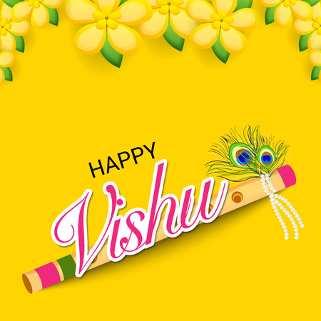 Happy Vishu banner with festival icons Vector illustration.