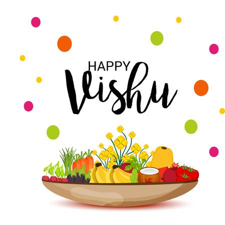 Happy Vishu with fruits,  vegetables and flowers serve. Illustration
