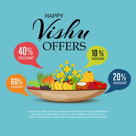 Happy Vishu banner with festival elements Vector illustration.