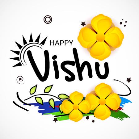 Happy Vishu isolated on colorful presentation Illustration