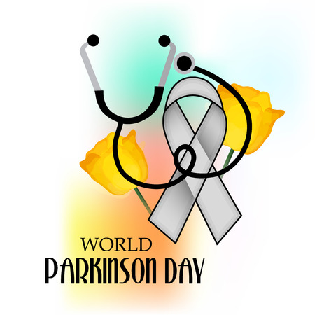 World Parkinson Day banner with ribbon and stethoscope. Vector illustration. Illustration
