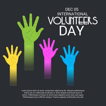 International Volunteers Day with hands illustration. Çizim