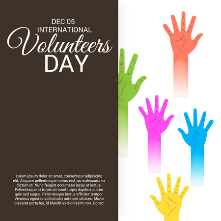 International Volunteers Day with hands illustration. Illustration