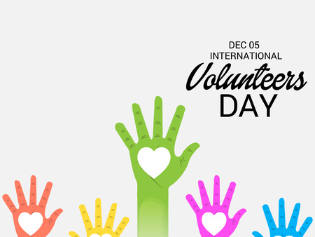 International Volunteers Day with hands illustration. Vectores
