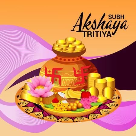 Akshaya Tritiya with gold coins and fruits
