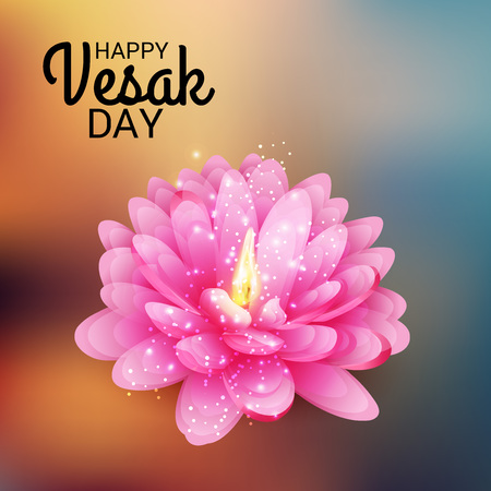 Happy Vesak Day card design concept illustration. Illustration