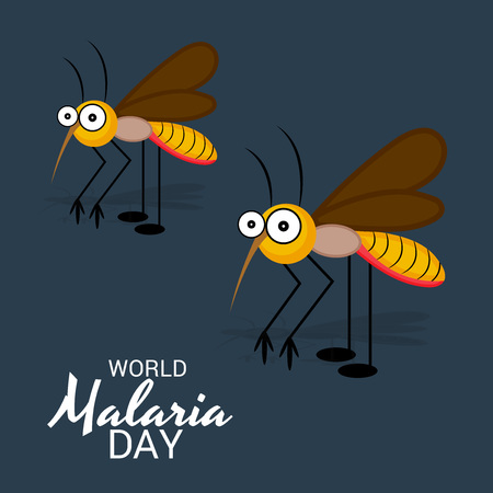 World Malaria Day poster with two mosquitoes