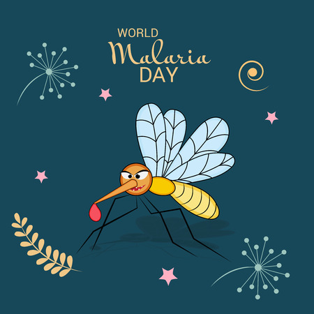 World Malaria Day illustration as awareness poster Çizim