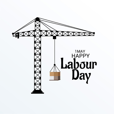 Labor Day with towing illustration on light background.