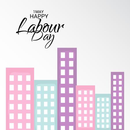 Labor Day with building illustration on light background. Illustration