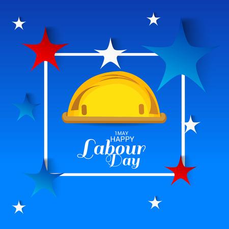 Labor Day with worker hat illustration on light background. Illustration