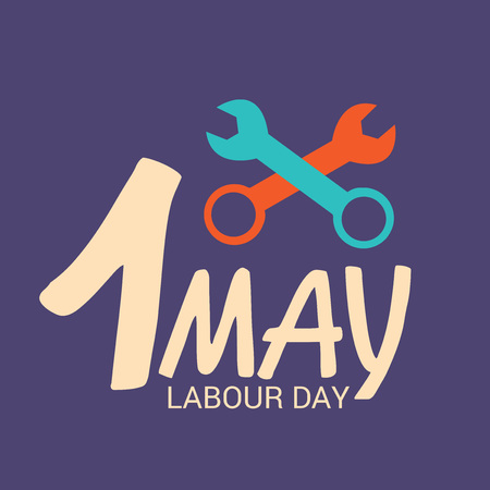 Labor Day with wrench illustration on dark background. Illustration