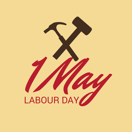 Labor Day with hammer illustration on light background.