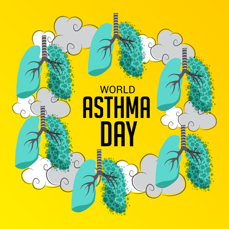 World Asthma Day poster template vector illustration. Illustration