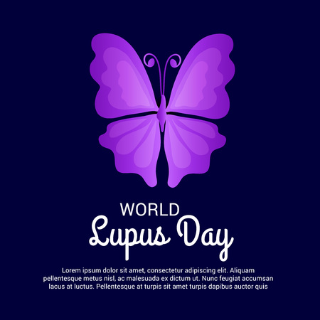 World Lupus Day, typography and butterfly illustration.