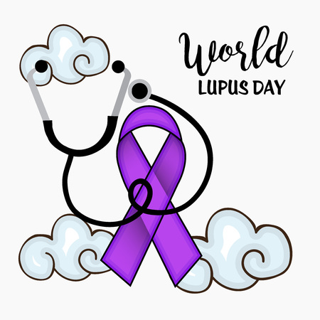 World Lupus Day typography and ribbon design Illustration. Illustration