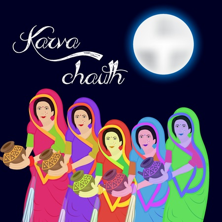 Happy Karva Chauth. Illustration