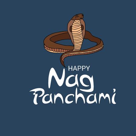 Feliz Nag Panchami. Ilustración de vector