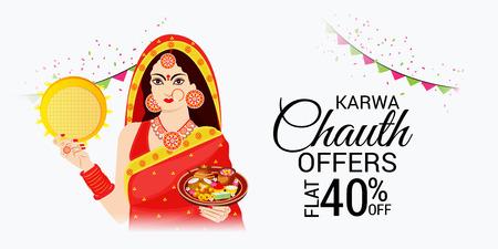Glücklicher Karwa Chauth. Vektorgrafik