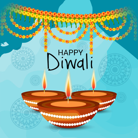 Creative Banner or  Poster for Indian Light Festival of Diwali Celebration. Illustration