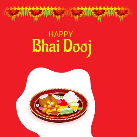 Vector illustration of a Background for indian festival of Happy Bhai Dooj Celebration. Illustration