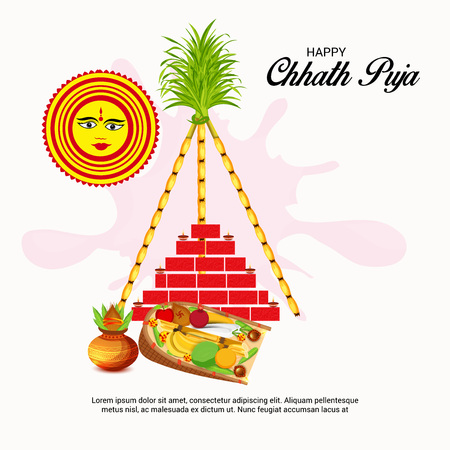 Vector illustration of Happy Chhath Puja Holiday Background for Sun Festival for Womens of Bihar India. Ilustração