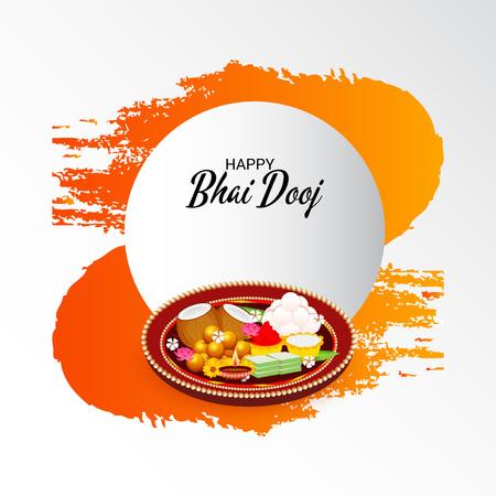 Vector illustration of a Background for indian festival of Happy Bhai Dooj Celebration. Ilustração