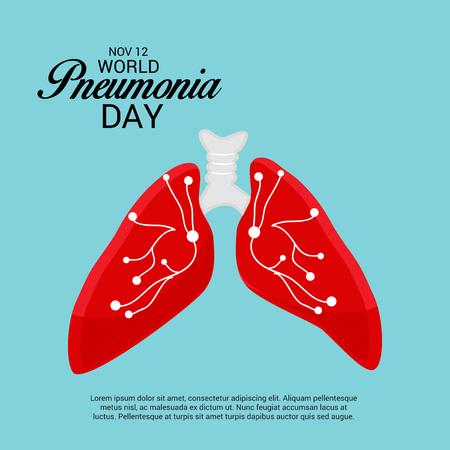Vector illustration of a Banner for World Pneumonia Day. Çizim