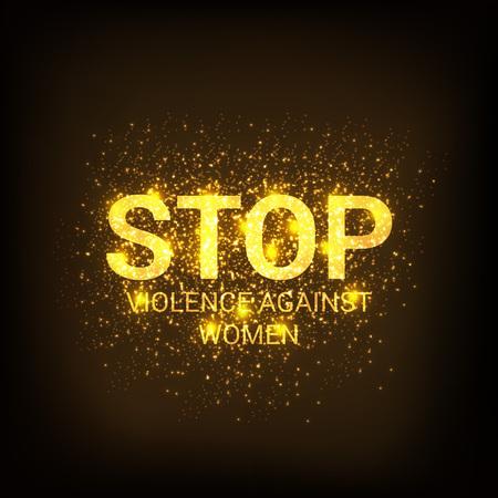 Detener la violencia contra las mujeres concepto de fondo. Ilustración de vector
