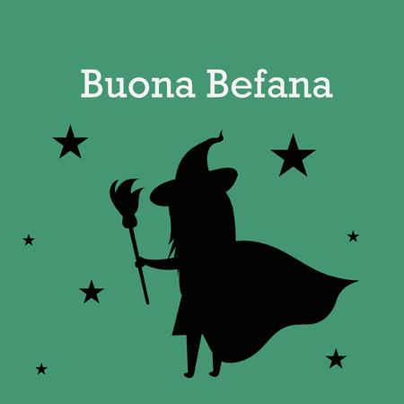 Epiphany (Epiphany is a Christian festival) with Italian Lettering Quote Buona Befana.